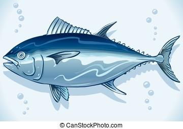 Tuna Watercolor Underwater World - Tuna watercolor hand...