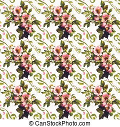 Wild Roses Floral Bouquet Pattern - Wild roses bouquet...