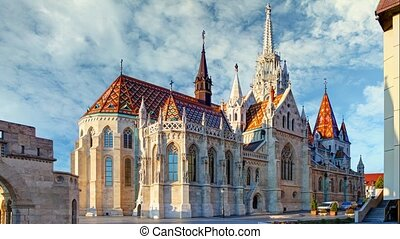 Budapest - Mathias church square, Hungary - Time lapse