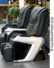 Two electric massage chairs - Two electric leather...