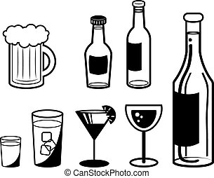 Alcoholic Drink Outlines - Various alcoholic drink outlines...