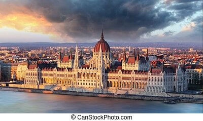 Budapest parliament at sunrise - Budapest parliament at...