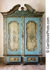 antique painted cupboard. old hand made furniture in wood...