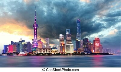 Shangahi skyline - cityscape, China, Time lapse