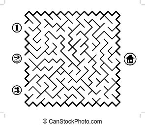 Labyrinth - Find way across labyrinth to the home Three...