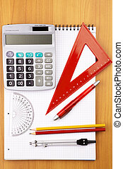 education items - obects for mathematics, selective focus on...
