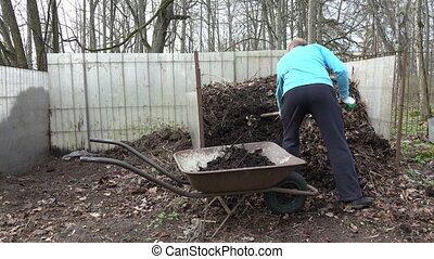 man load compost garden - man worker with fork load the...