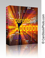 Adoption word cloud glowing box package - Software package...