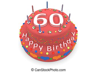 red birthday cake - a red birthday cake with the age and...