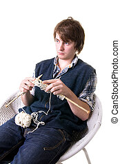 man knitting art craft - man knitting, male working on craft...