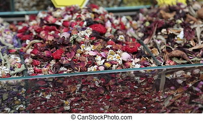 Teas and Spices in Spice Bazaar Turkey