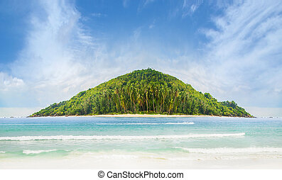 Tropical forest, sea coast and mountains. Siamese bay,...