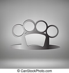 Brass Knuckle - Metal Brass Knuckle on Grey Light Background...