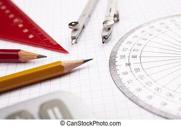 educational concept - math items, selective focus on nearest...