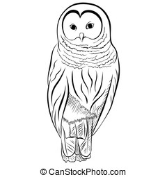 Image of the owl imitates drawing with pen and ink.