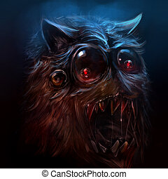 Hairy monster illustration. - Scary drawn hairy monster face...