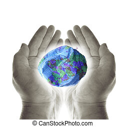 heal planet earth hands - heal the planet. hands holding a...