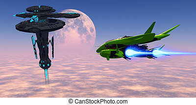 Earth Station 007 - A shuttle from an Earth base makes its...