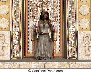 Egyptian Princess Throne - A young Egyptian princess sits on...