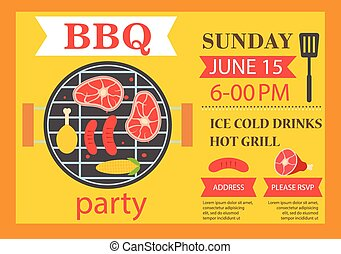 Barbecue party invitation BBQ template flyer, vector...