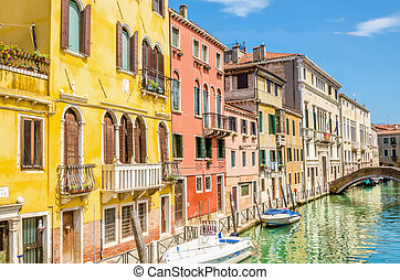 Scenic canal with boats, Venice, Italy - Scenic canal with...