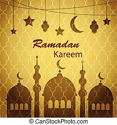 Ramadan Kareem greetings background with hanging lanterns,...