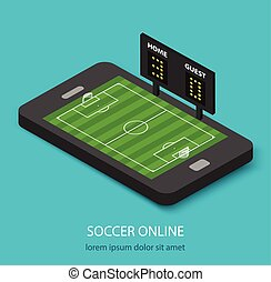 Isometric soccer online concept with soccer field and...