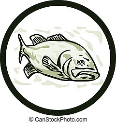 Largemouth Bass Fish Front Side Circle Cartoon -...