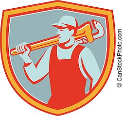 Plumber Monkey Wrench Shoulder Shield Retro - Illustration...
