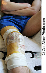 injury knee bandages - injured leg and knee in bandages...