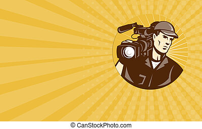 Business card Cameraman Film Crew Pro Video Movie Camera -...