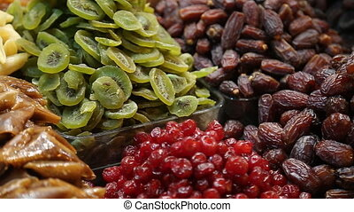 Image of market offering a selection of dried fruits