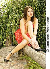 Beautifu brunette - Beautiful caucasian long-legged model...