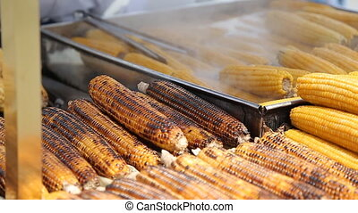 Grilled corn cob on the market in Turkey - Grilled corn cob...