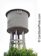 Cylindrical Concrete Water Tower isolated on withe...