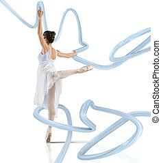 Elegance tiptoe - Elegant woman classical dancer dancing on...
