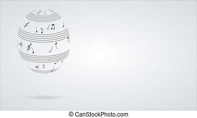 music notes animation - Music notes sphere Video animation,...