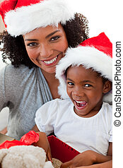 hija, tiempo, teniendo, madre, diversión, navidad