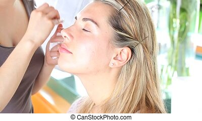 nds makeup artist plucked eyebrows - hands of makeup artist...