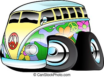 Colorful Hippie Surfer Bus - Colorful hippie surfer van...
