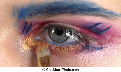 Eye down make-up woman applying eyeshadow, making exotic, one, blue eyebrow, yellow shadow, special brush, finishing touch, close up, on white, slow motion