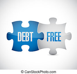 debt free puzzle pieces sign concept illustration design...