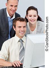 användande, dator, attraktiv, affär, folk