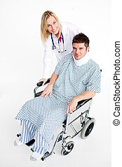 Patient with a neck brace and beautiful doctor - Patient...