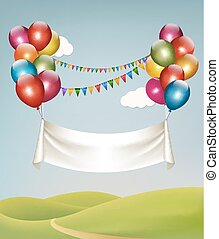 Happy birthday banner with balloons. Vector.