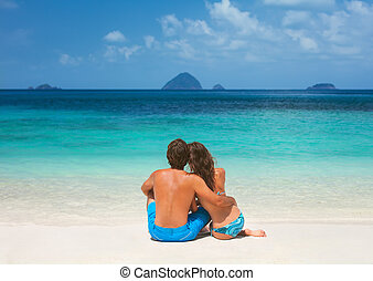 Romantic couple on the beach - Romantic couple on the...