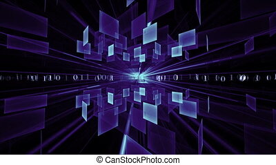 Blue Cubes in Rotation, Matrix - Binary code data flow,...