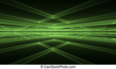 Internet Concept, Matrix - Cubic geometrical horizon with...