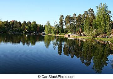 Finland. Kotka town. Park Sapokka. Lake