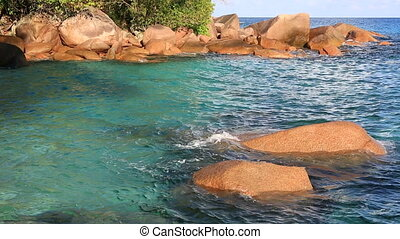 Beautiful granite boulders in Indian Ocean on the beach of...
